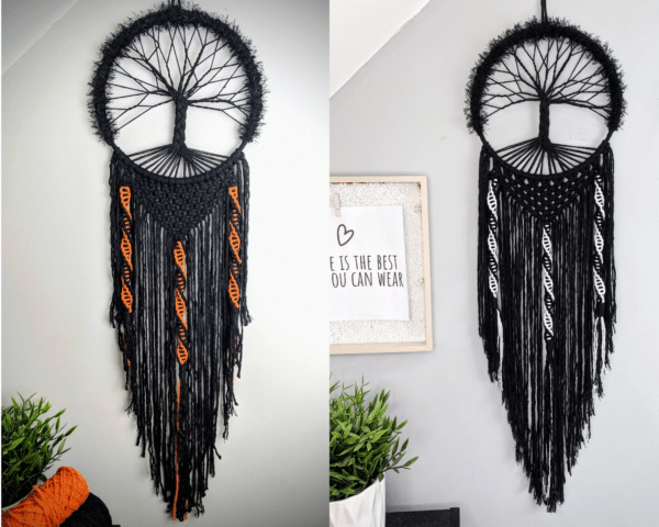Spooky, Tree of Life, dreamcatcher, Black, Macrame, Gothic - main product image
