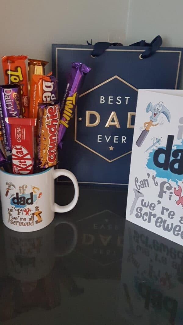 Dad mug with chocolates , matching card and gift bag. - main product image
