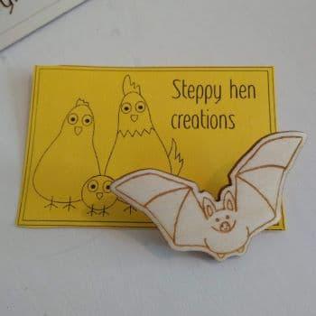 Handmade wooden bat brooch or fridge magnet | Laser engraved original design - product image 2