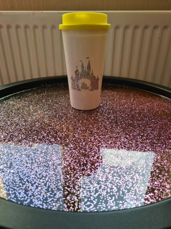 Reusable travel mug, Tumbler, holographic castle/mermaimd, travel cup, travel mug, vinyl design, - main product image