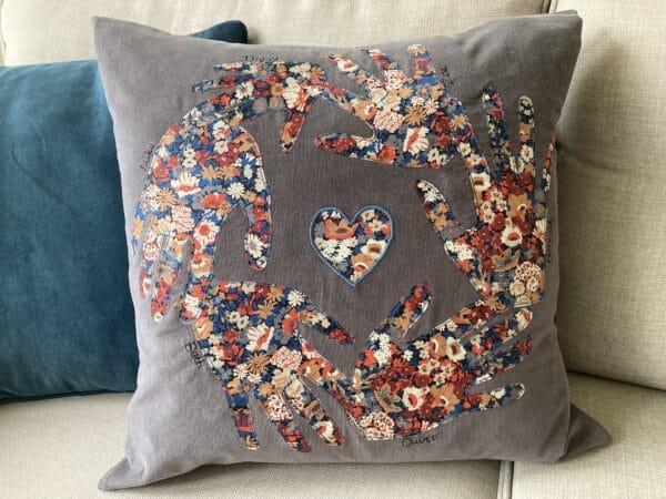 Personalised Liberty print handprint cushion – grey/Liberty Thorpe - main product image