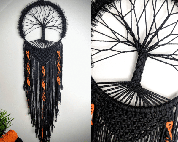Spooky, Tree of Life, dreamcatcher, Black, Macrame, Gothic - product image 2