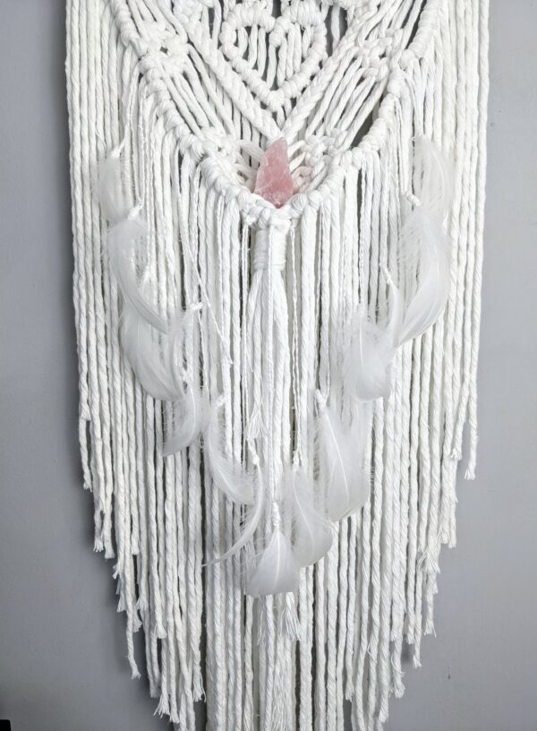 Macrame bride and groom wall hanging gift wedding cotton anniversary rose quartz - product image 5