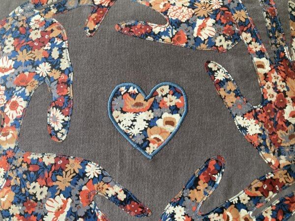 Personalised Liberty print handprint cushion – grey/Liberty Thorpe - product image 2
