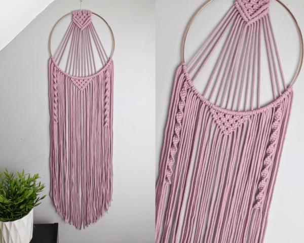 Macrame Dreamcatcher Dusky Pink Grey Boho Wall Hanging - main product image