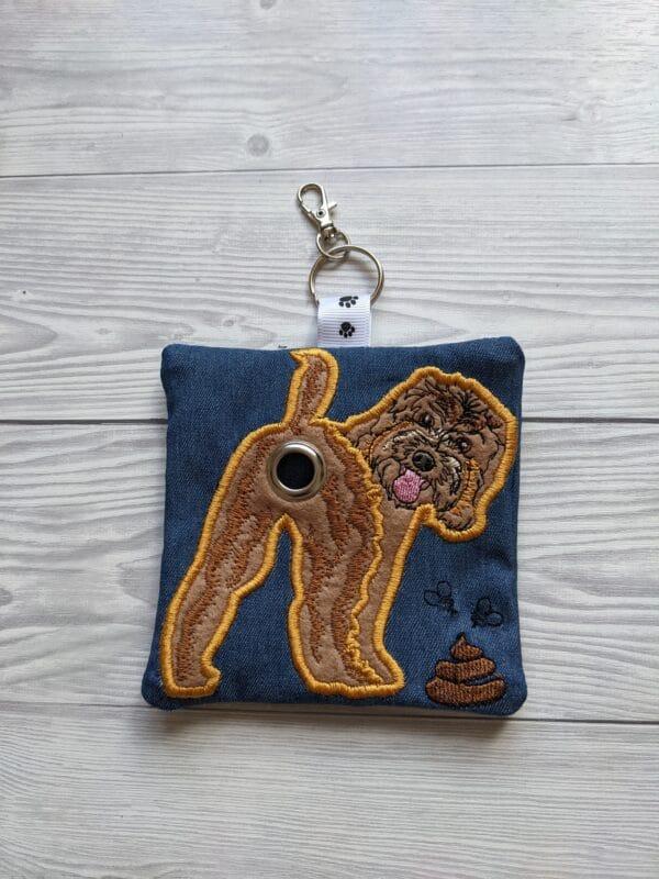 Cockapoo dog poo bag roll holder, dog walkies bag, dog gifts - main product image