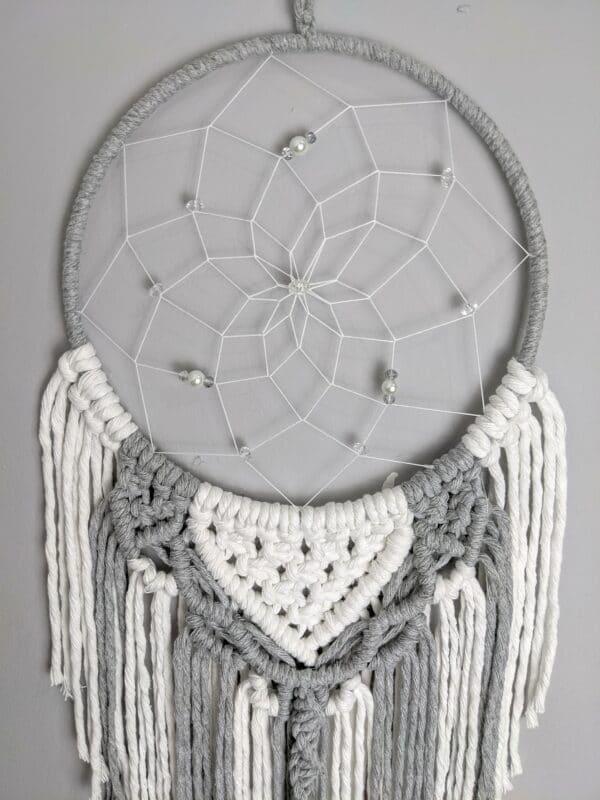 Macrame, Dreamcatcher, Boho, Dream Catcher, grey, white, Macramé - product image 3