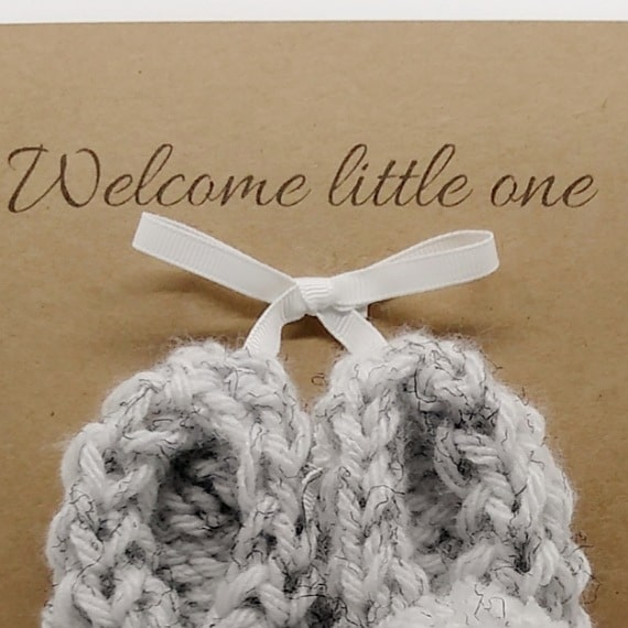 Knitted baby booties card/gift - product image 2