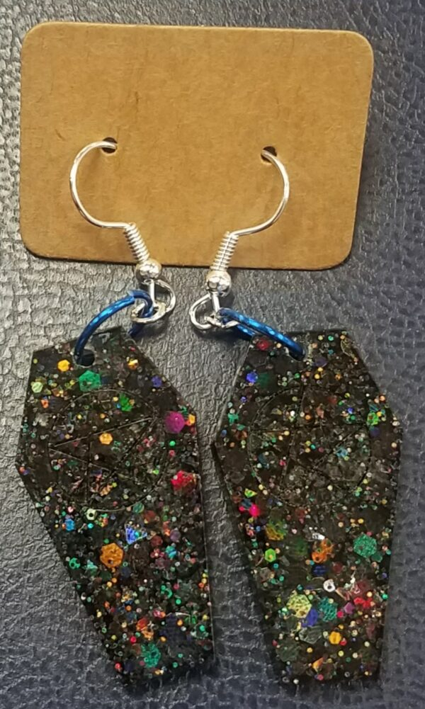Sparkly coffin dangly earrings - main product image