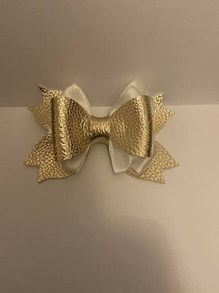 faux leather pearl hair bow - main product image