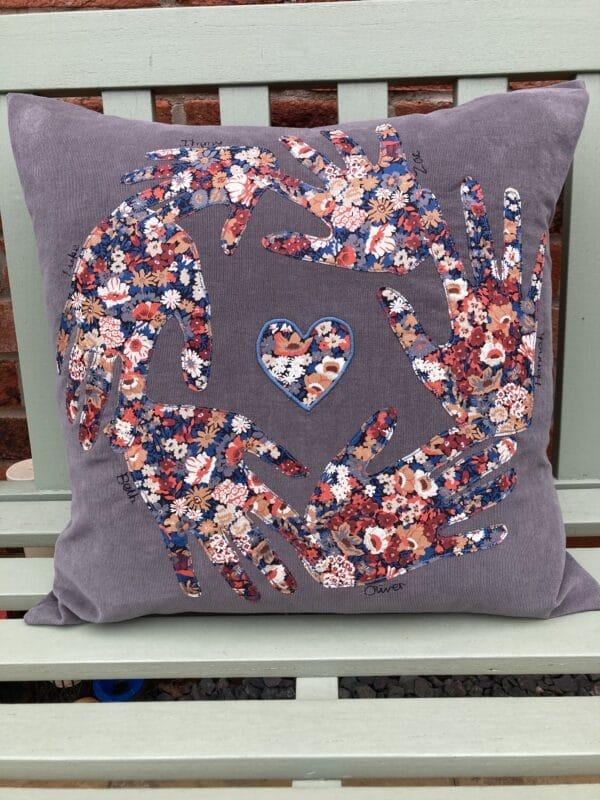 Personalised Liberty print handprint cushion – grey/Liberty Thorpe - product image 5