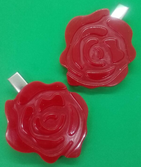 Red rose hair clips - main product image