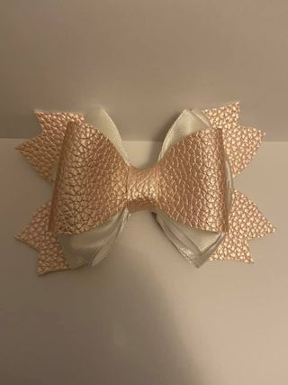 faux leather pearl hair bow - product image 3