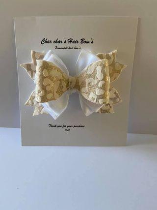velvet leopard print hair bow - product image 3