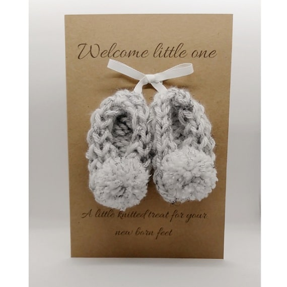 Knitted baby booties card/gift - main product image