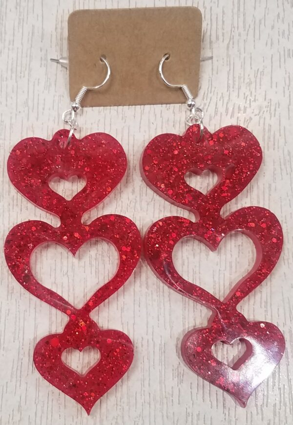 Red sparkly heart drop earrings - product image 2