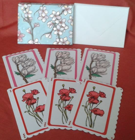 Poppies & Magnolia Handmade Notecards or Blank Cards – Set of 6 - main product image