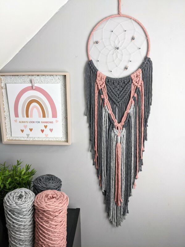 Macrame, Dreamcatcher, Boho, Dream Catcher, grey, dusky pink, Macramé, - product image 2