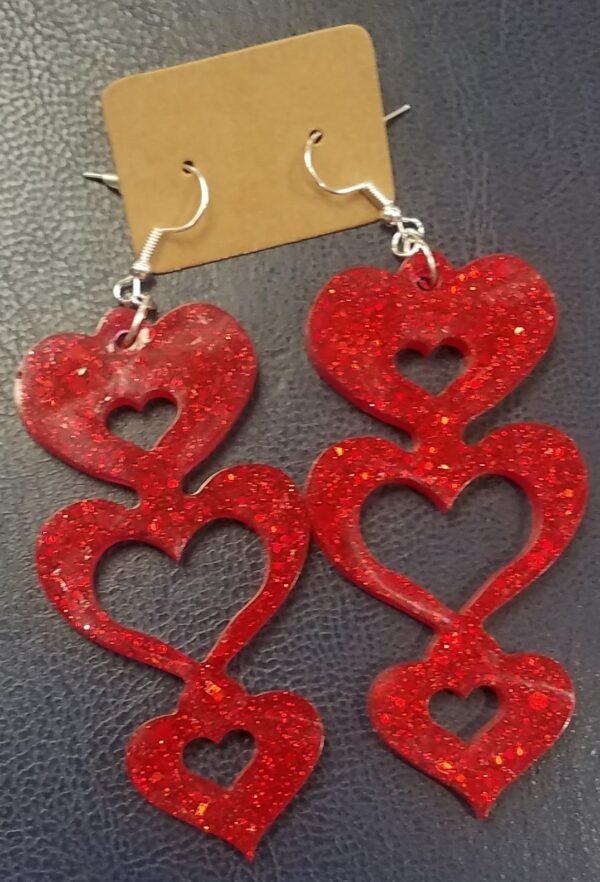 Red sparkly heart drop earrings - main product image