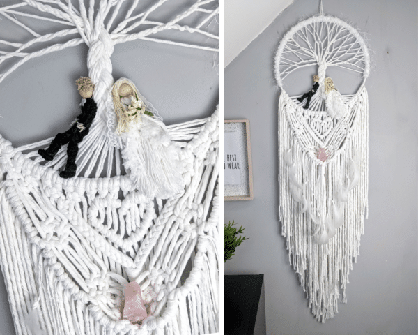 Macrame bride and groom wall hanging gift wedding cotton anniversary rose quartz - main product image