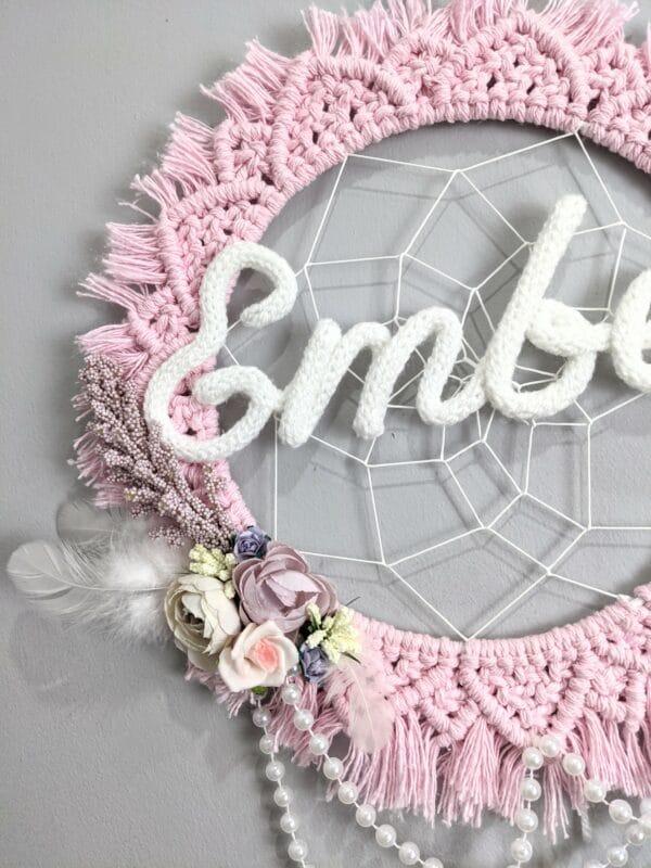 Personalised Mandala Wreath Dreamcatcher Wall Art Macrame wall hanging flowers feathers Boho decor - product image 5