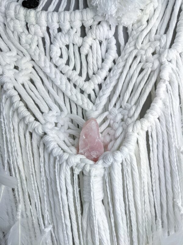 Macrame bride and groom wall hanging gift wedding cotton anniversary rose quartz - product image 3