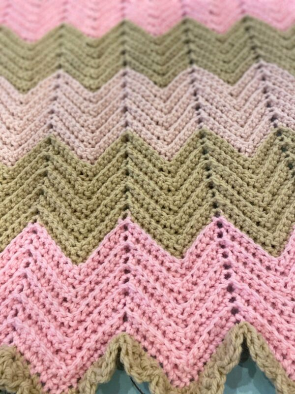 Chevron Crochet Baby Blanket in Pale Pink, Mid Pink and Soft Cream with Ruffle Boarder - product image 4