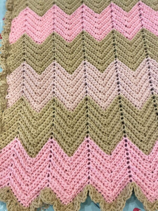 Chevron Crochet Baby Blanket in Pale Pink, Mid Pink and Soft Cream with Ruffle Boarder - product image 3