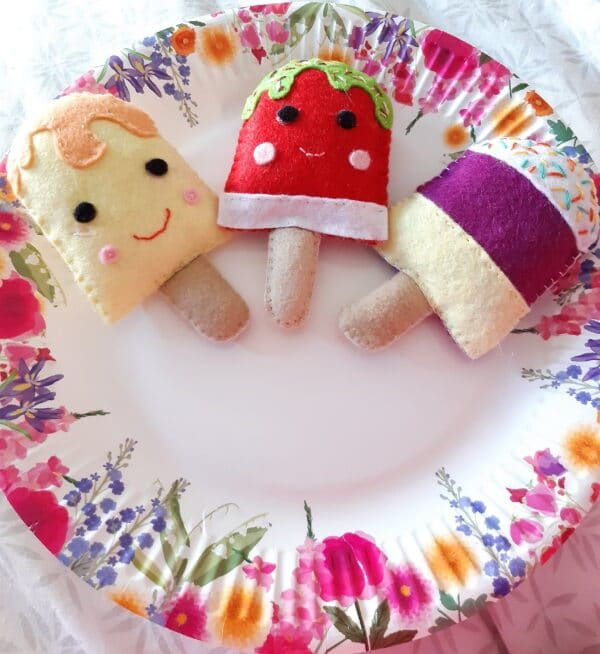 Felt ice lollies play food/ decorations - main product image