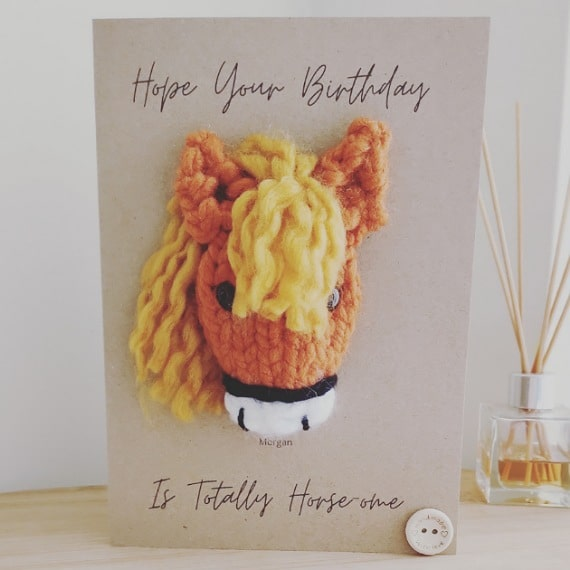 Knitted horse card - main product image
