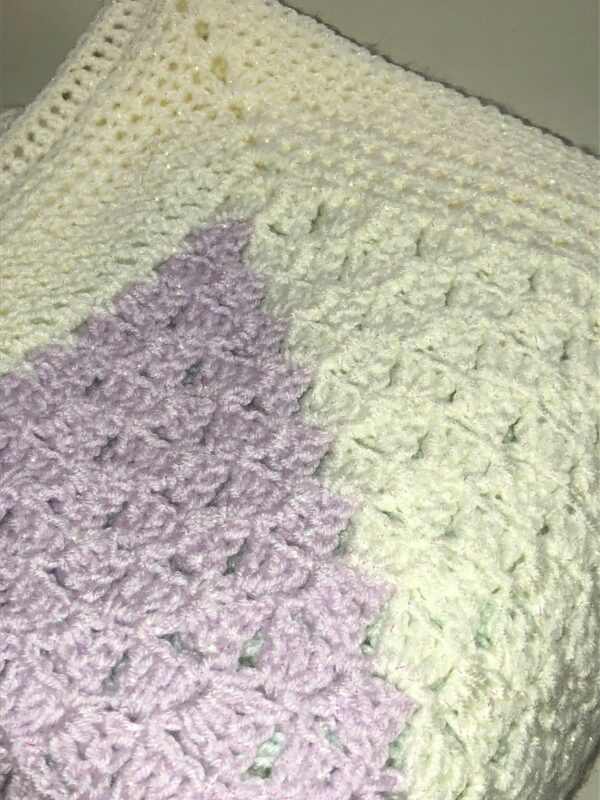 Pastel Sparkle Crochet Blanket in Cream, Lilac and Mint - product image 5