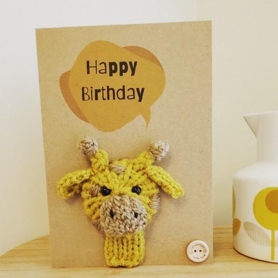 Knitted giraffe card - main product image