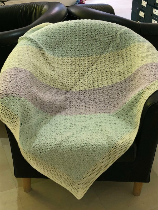 Pastel Sparkle Crochet Blanket in Cream, Lilac and Mint - main product image