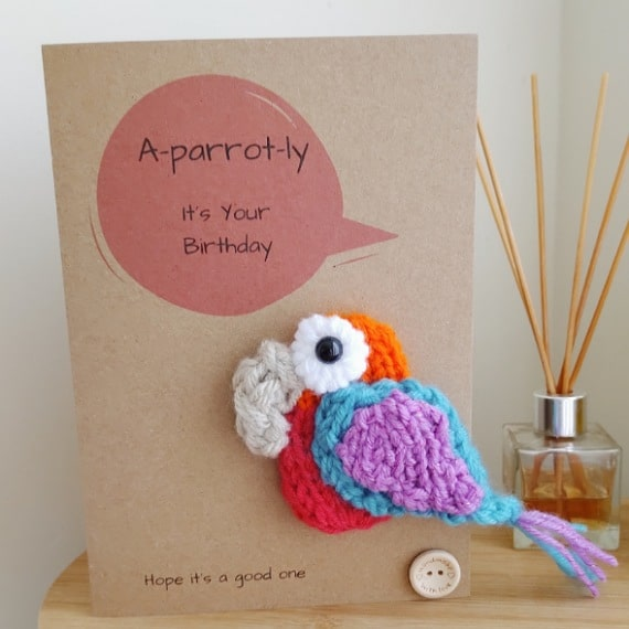 Knitted parrot card - main product image