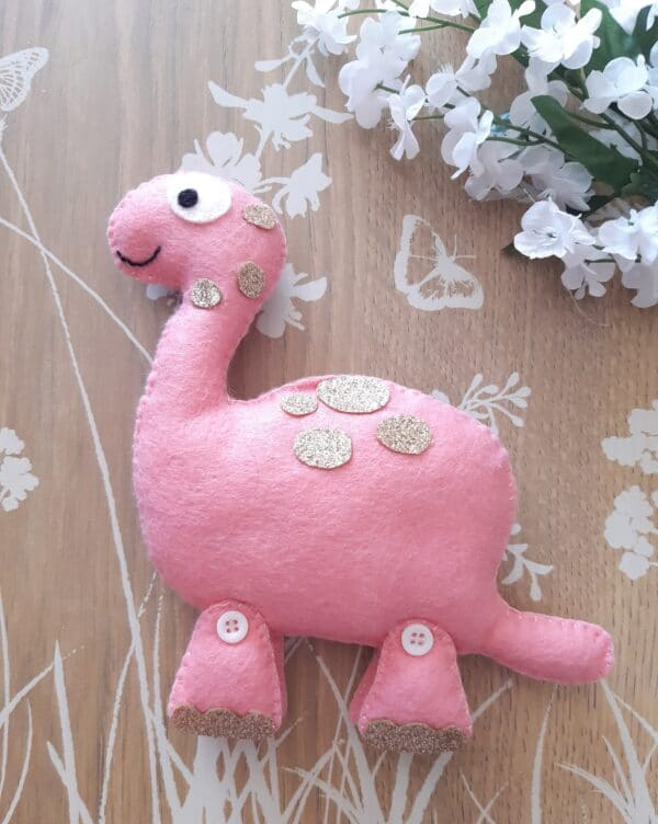 Pink glitter plush Dinosaur - main product image