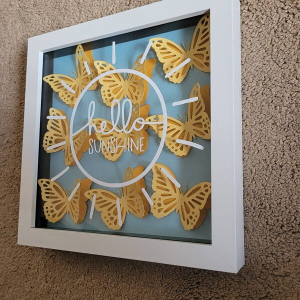 Hello SUNSHINE shadow box with 3D butterflies - product image 3