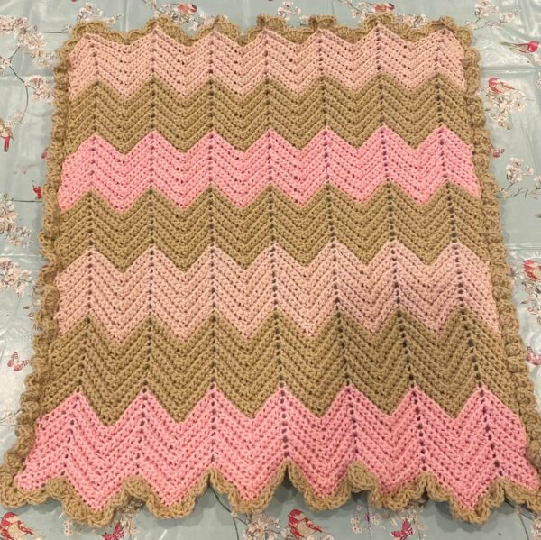 Chevron Crochet Baby Blanket in Pale Pink, Mid Pink and Soft Cream with Ruffle Boarder - product image 2