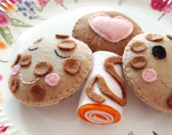 Handmade felt set of cookies and cake play food - product image 2