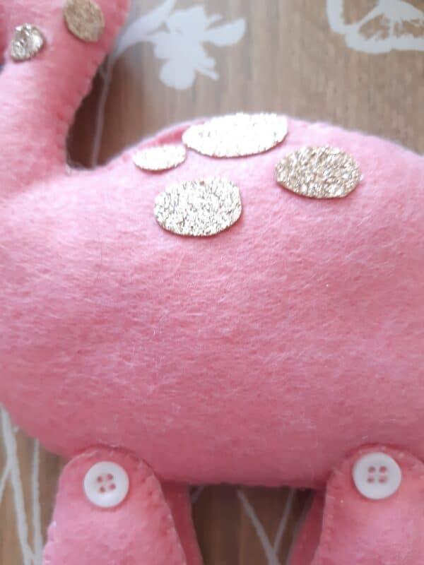 Pink glitter plush Dinosaur - product image 2
