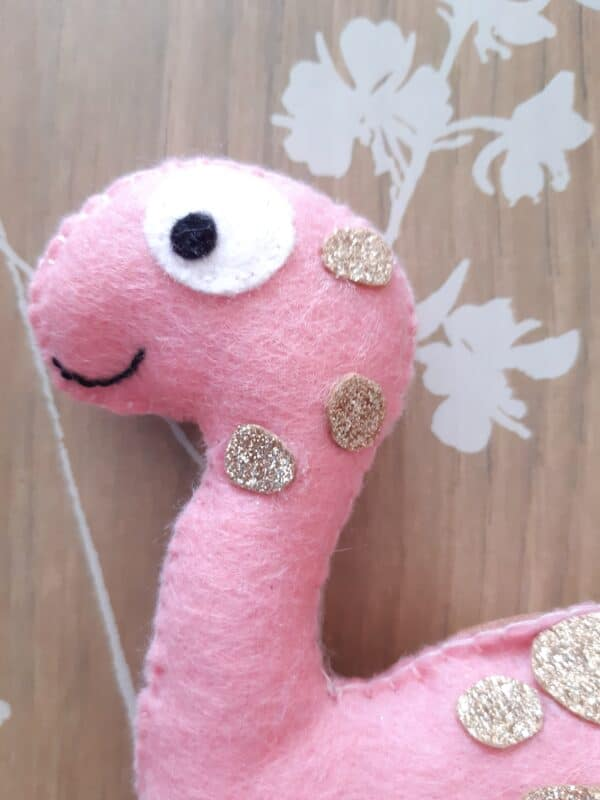 Pink glitter plush Dinosaur - product image 3