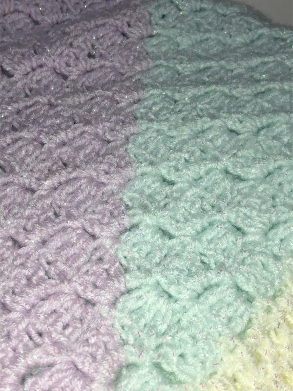 Pastel Sparkle Crochet Blanket in Cream, Lilac and Mint - product image 3