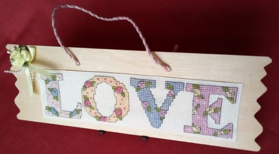 Love Cross Stitch Wooden Hanging Plaque - product image 2