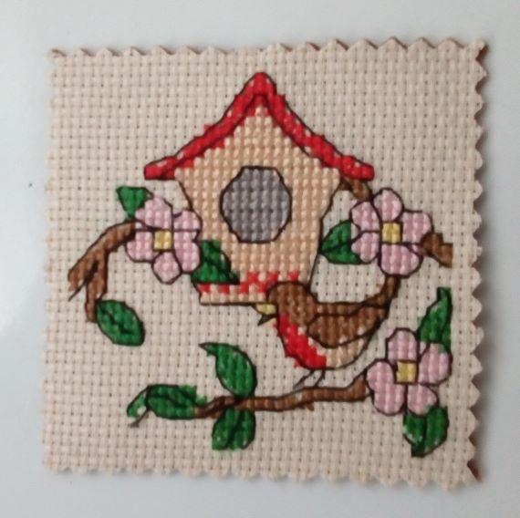 Bird Box Cross Stitch Fridge Magnet - main product image