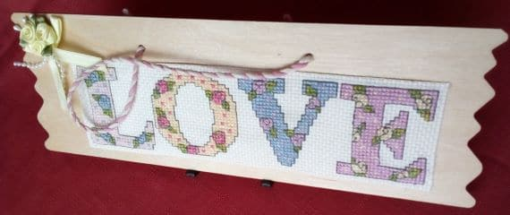 Love Cross Stitch Wooden Hanging Plaque - main product image