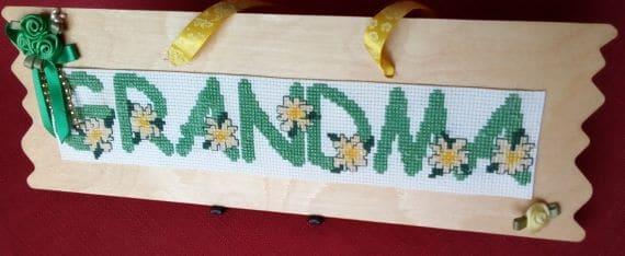 Grandma Cross Stitch Wooden Hanging Plaque - main product image