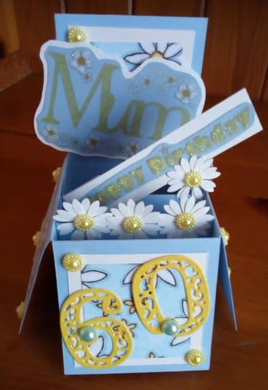 Mum 60th Birthday Card – Exploding Box Blue with Daisies - main product image