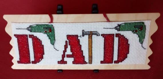 Cross Stitch Wooden Plaque Hanger – DIY Dad - main product image