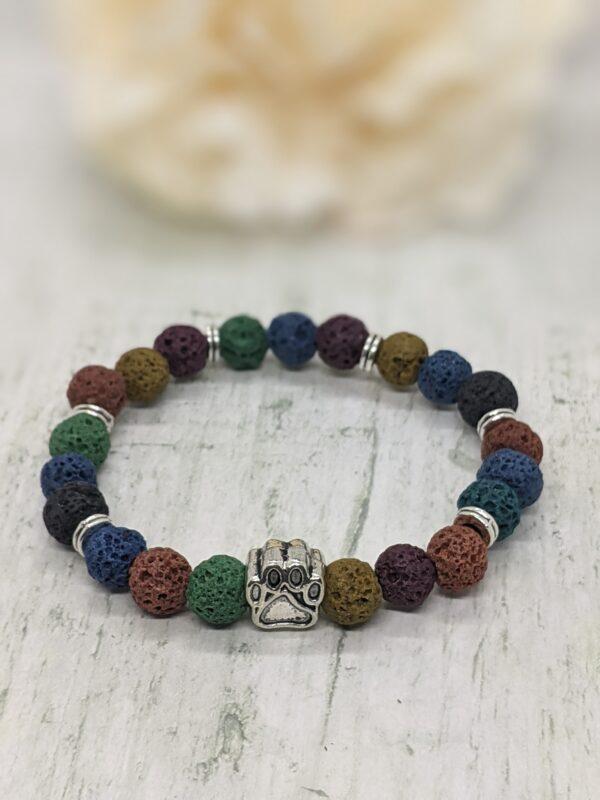 Dyed Natural Lava Stone Paw Print Bracelet - product image 4