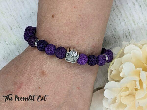 Dyed Natural Lava Stone Paw Print Bracelet - product image 2