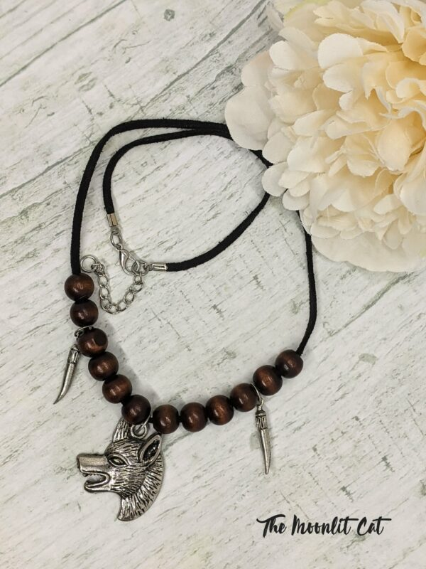Faux Suede and Wood Bead Necklace with Pewter Wolf Head Pendant - product image 3